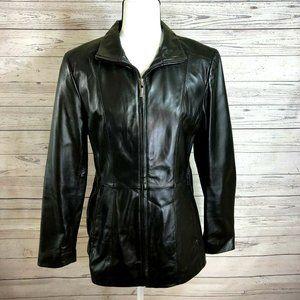 Worthington lambskin black leather jacket womens M